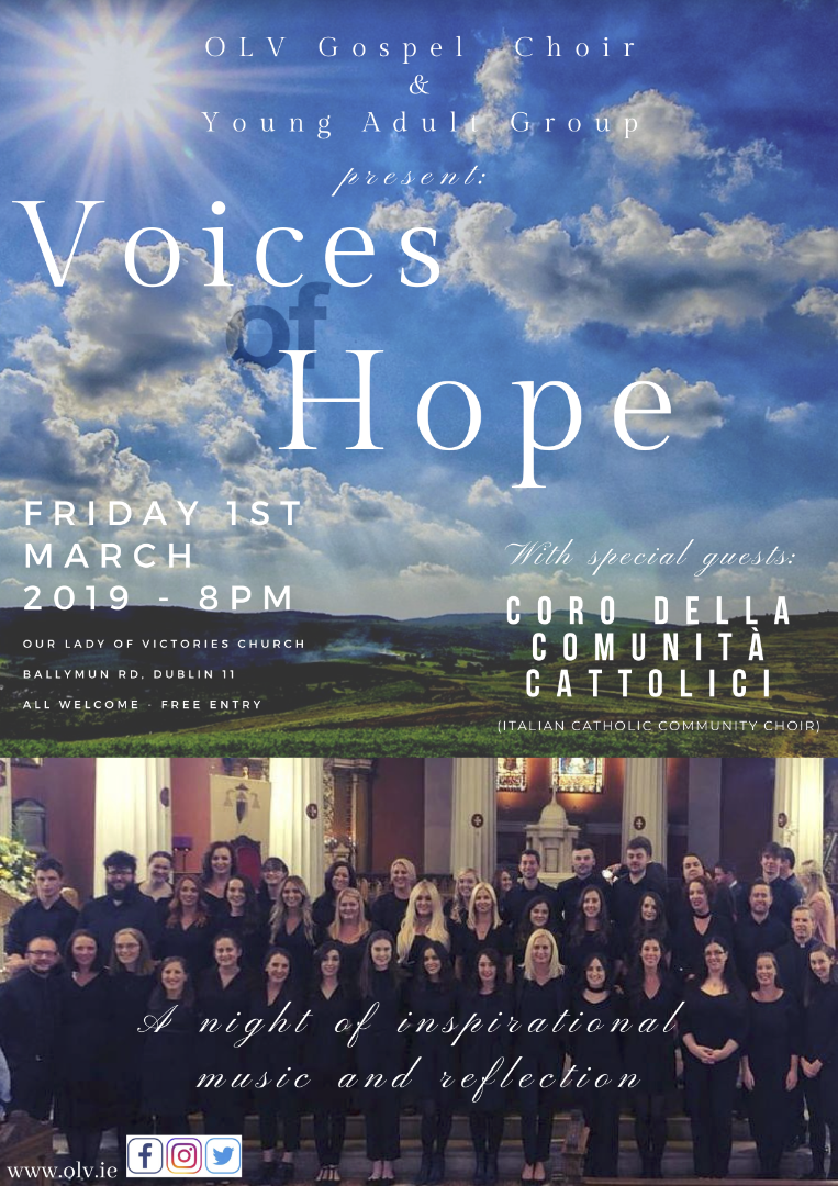 Poster for Voices of Hope Concert in Our Lady of Victories, 1st March 2019 at 8pm.